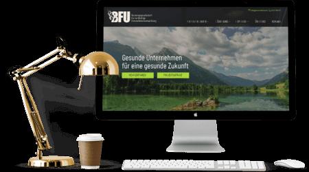 Die Ansicht der Webseite der BFU GmbH auf einemComputer-Display