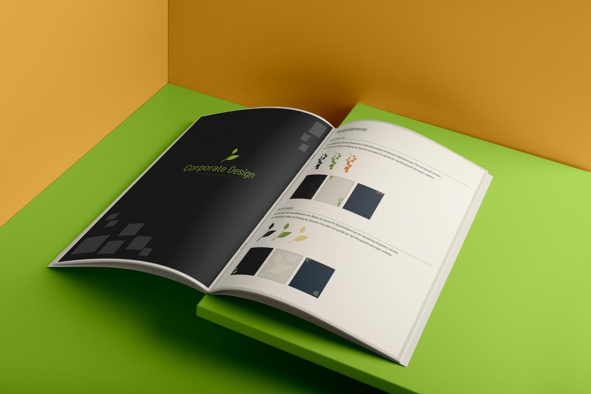 Der aufgeschlagene Brand Style Guide der BFU GmbH