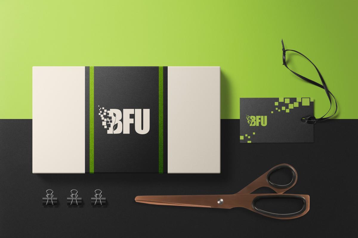 Das Logo der BFU GmbH auf einem Briefumschlag und einer Visitenkarte