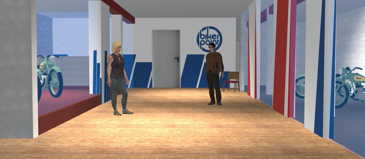 3D-Darstellung der Innenansicht der Bikerpoint-Geschäftsräume im Corporate Design