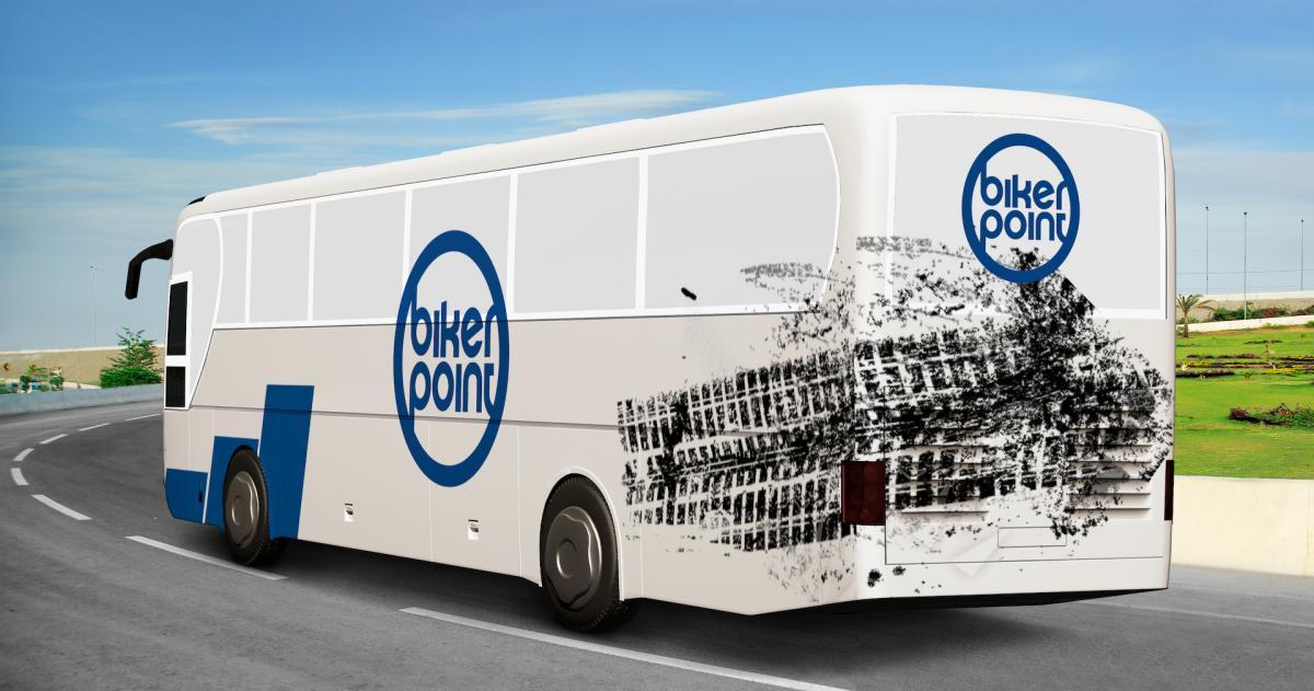Mockup der Gestaltung eines Busses mit dem Bikerpoint-Logo und passenden Stilelementen