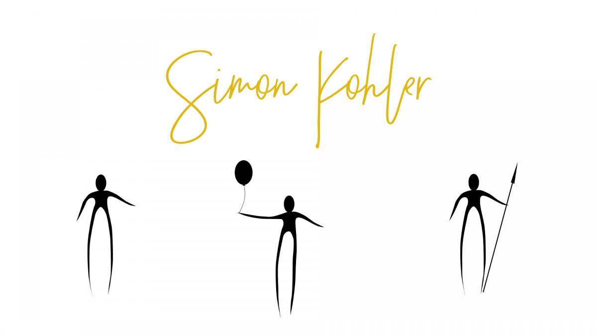 Das Logo und die charakteristischen Figuren des Künstlers Simon Kohler